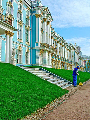 Catherine Palace In Russia Photograph - Woman Sweeping The Walkway In Front Of Catherine's Palace In Pushkin-russia by Ruth Hager