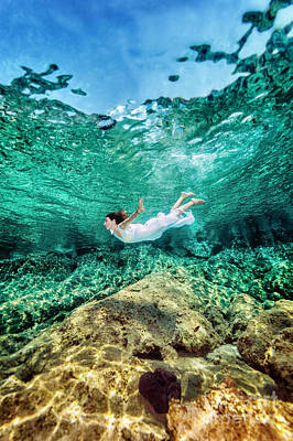 Photograph - Woman Swimming Near Rock by Anna Om