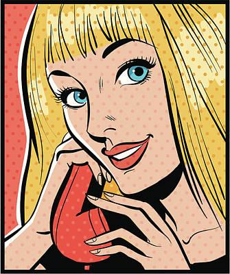 Art Prints Digital Art - Woman Talking On Telephone by Mcmillan Digital Art