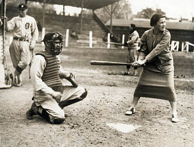 Detroit Tigers Photograph - Woman Tennis Star At Bat by Underwood Archives
