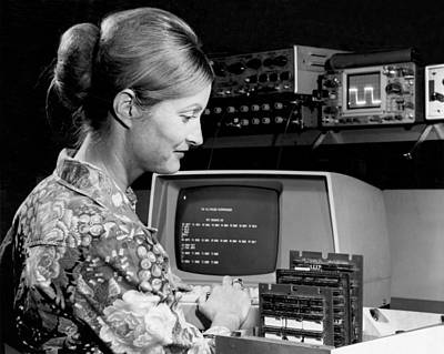 Woman Testing A Microcomputer Print by Underwood Archives