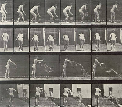 1887 Photograph - Woman Throwing A Bucket Of Water by Eadweard Muybridge