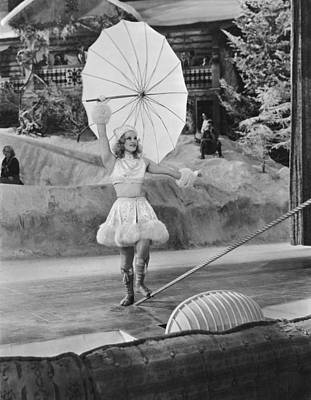 Tightrope Walking Photograph - Woman Tightrope Walker by Underwood Archives