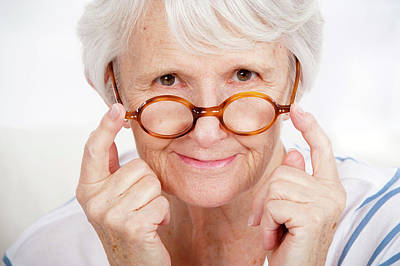 Aging Photograph - Woman Touching Glasses by Lea Paterson