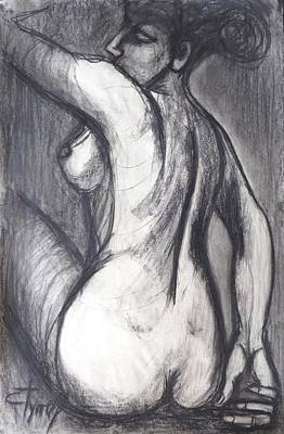 Woman Turning Her Back - Female Nude Art Print