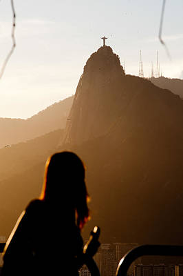Photograph - Woman Viewing Christ The Redeemer From The Top Of The Sugar Loaf by Celso Diniz