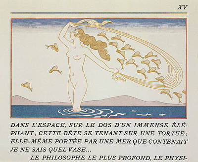 Natural Beauty Painting - Woman Wading Through Water by Georges Barbier