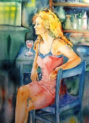 Glass Of Wine Painting - Woman Waiting  by Trudi Doyle