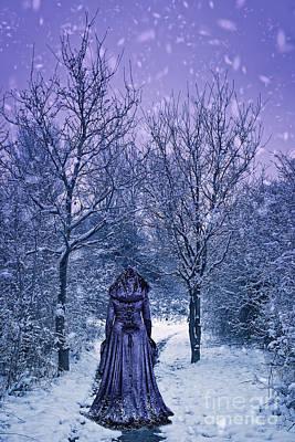 Woman Walking In Snow Art Print