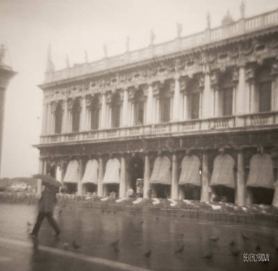 The Baths Photograph - Woman Walking In The Rain by Beverly Brown