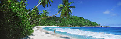 Walking In Tide Photograph - Woman Walking On The Beach, Anse by Panoramic Images