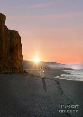 Photograph - Woman Walking On The Beach At Sunrise by Jill Battaglia