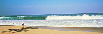 Walking In Tide Photograph - Woman Walking On The Beach, Oahu by Panoramic Images