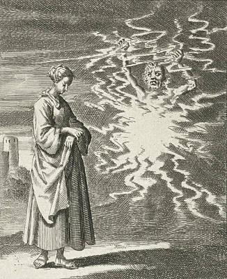 Woman Walks Quietly Past Satan, Jan Luyken Art Print by Jan Luyken And Pieter Arentsz Ii