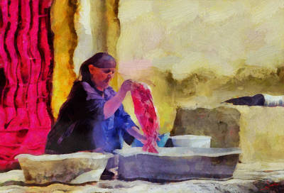 Egypt Painting - Woman Washing by George Rossidis