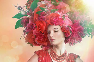 Flower Photograph - Woman Wearing A Big Red Hat Made Of by Paper Boat Creative