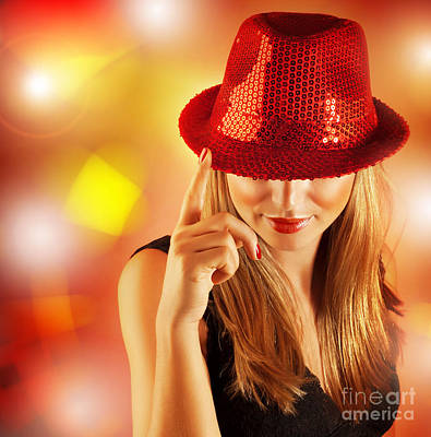 Photograph - Woman Wearing Red Hat by Anna Om