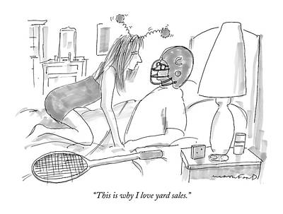 Football Drawing - Woman Wearing Silly Headband To Man In Bed by Michael Crawford