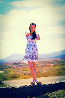 Woman Wearing Summer Dress Art Print
