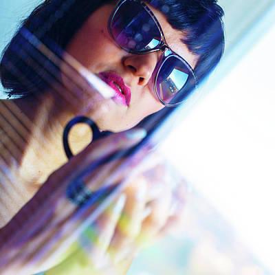 Woman Wearing Sunglasses With Coffee Cup Art Print by Wladimir Bulgar