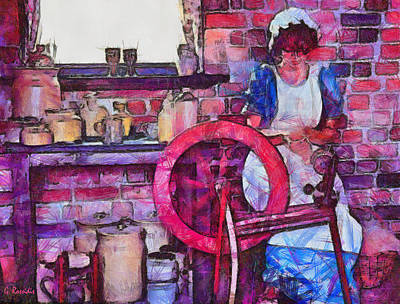 Weaving Painting - Woman Weaving by George Rossidis