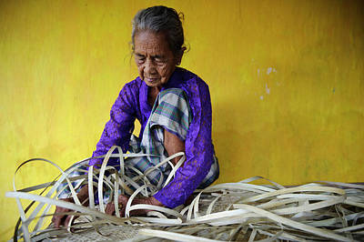 Hand-weaving Photograph - Woman Weaving by Matthew Oldfield
