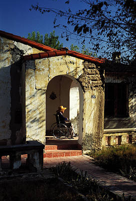 Woman Wheelchair On Front Porch Art Print by Mark Goebel