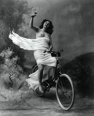 Vino Photograph - Woman - Wine - Bicycle  1897 by Daniel Hagerman