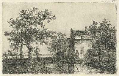 Small Basket Drawing - Woman With A Basket For A Farm House Near The Water by Hermanus Jan Hendrik Van Rijkelijkhuysen