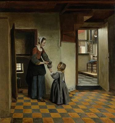 Pieter De Hooch Wall Art - Painting - Woman With A Child In A Pantry by Pieter de Hooch