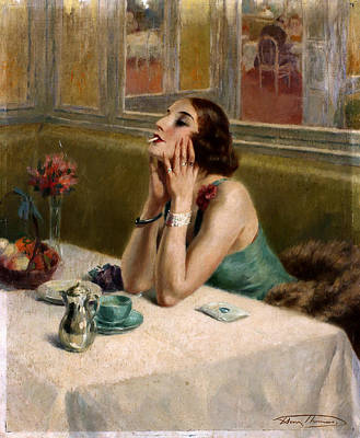 Prostitution Painting - Woman With A Cigarette by Henri Thomas