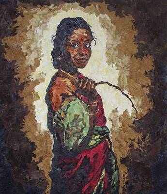 Woman With A Coconut Art Print by Mihira Karra