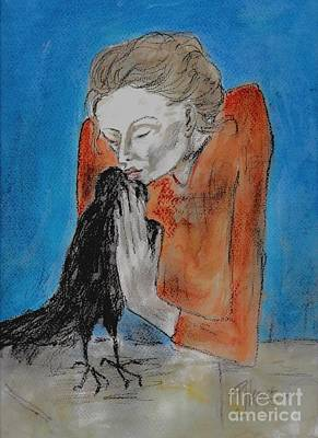 Woman With A Crow Original by P J Lewis