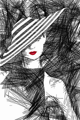 Digital Art - Woman With A Hat by Rafael Salazar