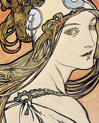 Belle Painting - Woman With A Headscarf by Alphonse Marie Mucha
