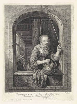 Water Jars Drawing - Woman With A Jug In A Window, Robbert Muys by Robbert Muys And Jan Bisshop