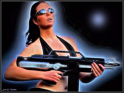Painting - Woman With A Laser Rifle by Jon Volden