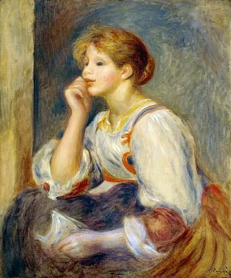 Reverie Painting - Woman With A Letter by Pierre-Auguste Renoir