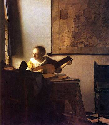Woman With A Lute Art Print by Johannes Vermeer