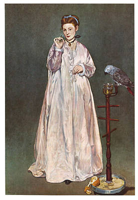 African Gray Painting - Woman With A Parrot by Edouard Manet