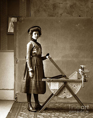 Photograph - Woman With A Pedigo Perfection Washing Machine Circa 1900 by California Views Archives Mr Pat Hathaway Archives