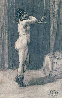 Female Nude Drawing - Woman With A Trapeze by Felicien Rops