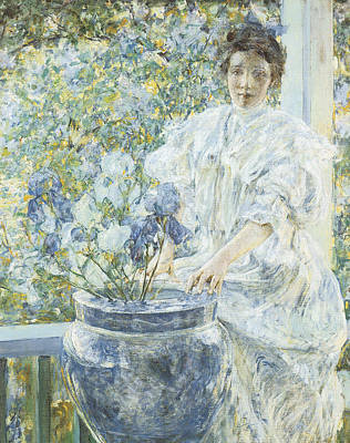 Woman With A Vase Of Irises Art Print by Robert Reid