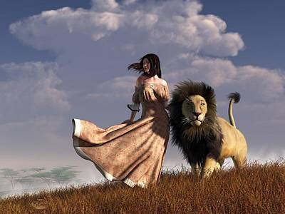 Woman With African Lion Art Print