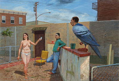 Woman With Bird Art Print by Alfredo Arcia