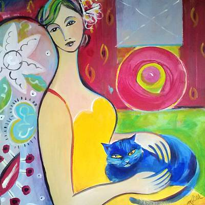 Painting - Woman With Blue Cat by Marlene LAbbe