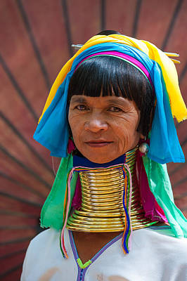 Photograph - Woman With Brass Neck Coils Myanmar by Judith Barath