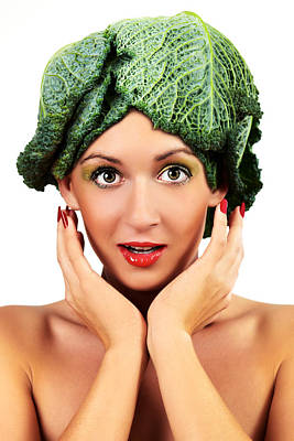 Woman With Cabbage Head Print by Radka Linkova