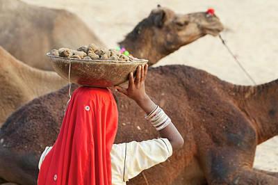 Camel Photograph - Woman With Camel At Pushkar Camel Fair by Keren Su