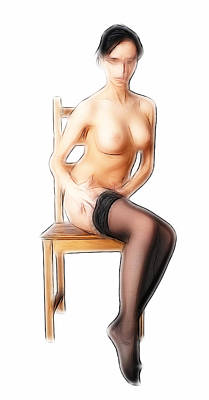 Abstract Expressionism Drawing - Woman With Chair by Steve K